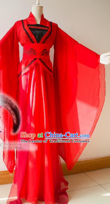 Chinese Tang Dynasty Imperial Consort Red Hanfu Dress Ancient Fairy Traditional Costume for Women
