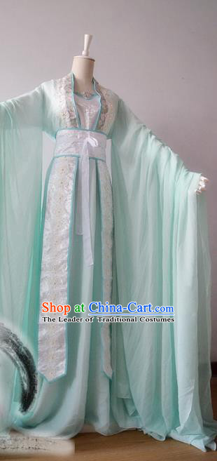Chinese Traditional Tang Dynasty Imperial Concubine Green Hanfu Dress Ancient Court Lady Clothing for Women