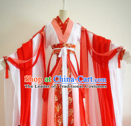 Chinese Traditional Han Dynasty Imperial Concubine Red Hanfu Dress Ancient Court Lady Clothing for Women