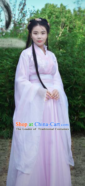 Chinese Traditional Han Dynasty Princess Pink Hanfu Dress Ancient Fairy Clothing for Women