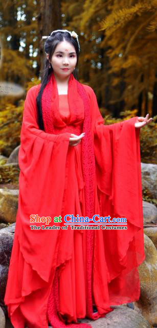Chinese Traditional Tang Dynasty Imperial Concubine Red Hanfu Dress Ancient Fairy Clothing for Women