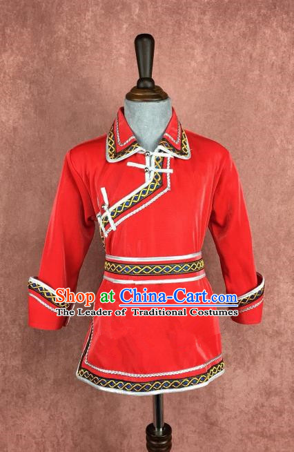 Chinese Traditional Children Ethnic Costume Red Mongolian Robe, China Mongolian Minority Folk Dance Clothing for Kids