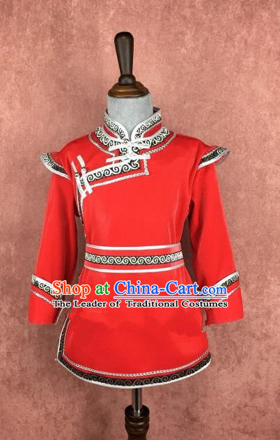 Chinese Traditional Girls Ethnic Costume Red Mongolian Robe, China Mongolian Minority Folk Dance Clothing for Kids