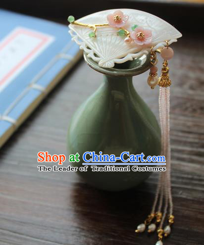 Chinese Ancient Handmade Palace Shell Hair Claw Hair Accessories Hanfu Tassel Hairpins for Women