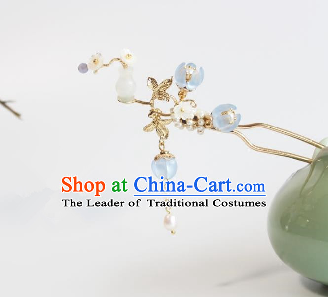 Chinese Ancient Handmade Palace Jade Vase Hair Clip Hair Accessories Hanfu Hairpins for Women