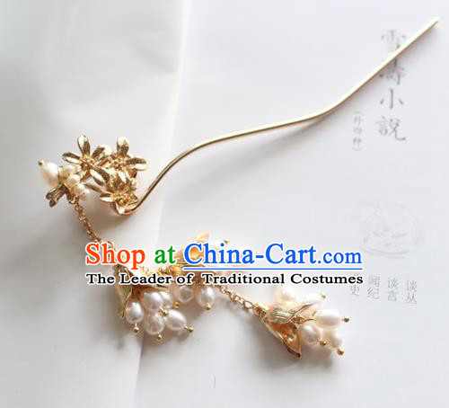 Chinese Ancient Handmade Palace Pearls Tassel Hair Clip Hair Accessories Hanfu Hairpins for Women