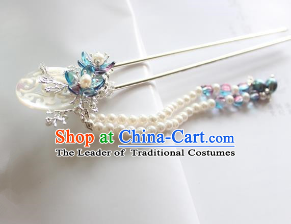 Chinese Ancient Handmade Hair Clip Hair Accessories Hanfu Pearls Tassel Hairpins for Women