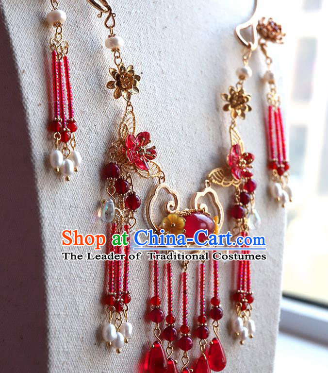 Chinese Ancient Handmade Hanfu Accessories Red Beads Tassel Necklace Conophytum Pucillum for Women