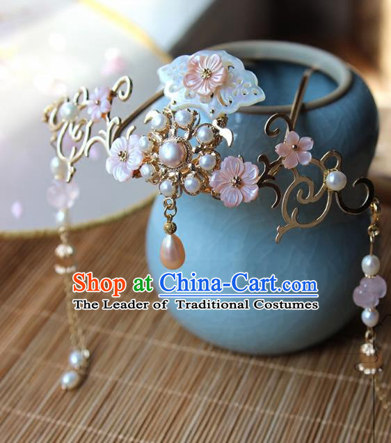 Chinese Ancient Handmade Tassel Step Shake Classical Hair Accessories Hanfu Shell Pearls Hairpins for Women