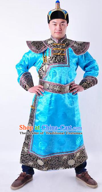 Chinese Mongol Nationality Costume Traditional Mongolian Royal Highness Blue Mongolian Robe for Men