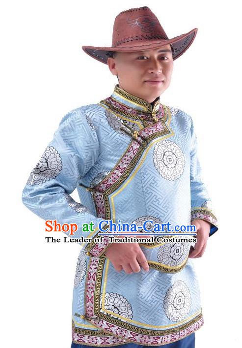 Chinese Mongol Nationality Costume Traditional Mongolian Royal Highness Blue Coat for Men