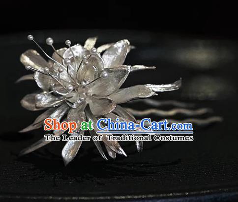 Chinese Ancient Handmade Epiphyllum Hair Comb Classical Hair Accessories Hanfu Hairpins for Women