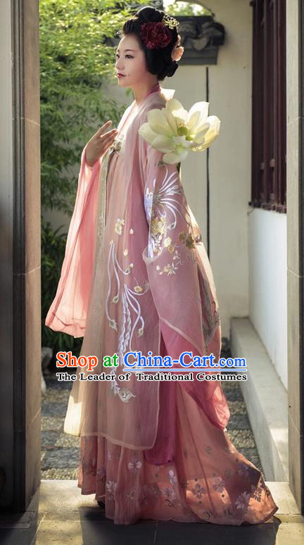 Traditional Chinese Tang Dynasty Imperial Consort Embroidered Costume Ancient Imperial Concubine Hanfu Dress for Women