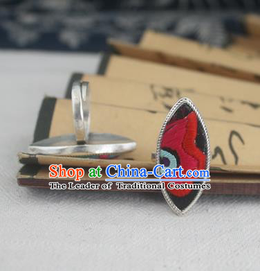 Chinese Traditional Miao Sliver Ornaments Willow Leaf Ring Traditional Hmong Embroidered Red Flower Rings for Women