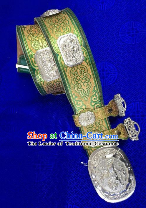 Traditional Chinese Mongol Nationality Green Leather Waistband Mongolian Robe Belts for Men