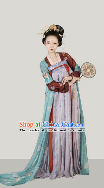 Chinese Ancient Tang Dynasty Palace Lady Hanfu Dress Maidenform Embroidered Costumes for Women