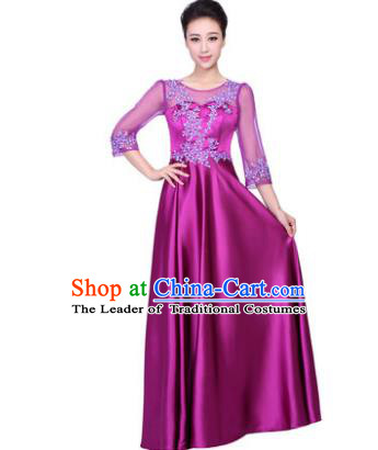 Professional Chorus Stage Performance Costume, Compere Singing Group Modern Dance Purple Dress for Women