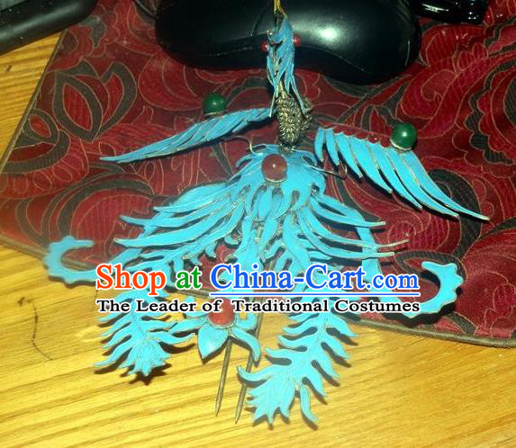 Chinese Traditional Miao Nationality Hair Accessories Blue Phoenix Hairpins Wedding Headwear for Women