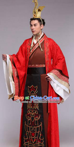 Traditional Chinese Ancient Emperor Costume Qin Dynasty Imperial Emperor Hanfu Dragon Robe for Men