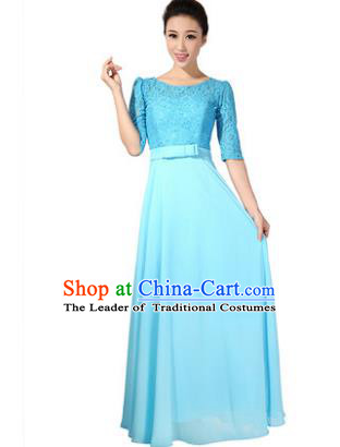 Professional Chorus Singing Group Stage Performance Costume, Compere Modern Dance Blue Lace Dress for Women