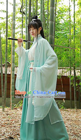 Traditional Chinese Jin Dynasty Swordswoman Hanfu Dress Ancient Costumes for Women