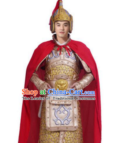 Traditional Chinese Ancient General Costume Song Dynasty Military Officers Historical Body Armor and Helmet Complete Set