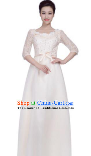 Top Grade Chorus Group White Full Dress, Compere Stage Performance Choir Costume for Women