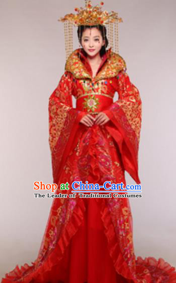 Traditional Chinese Ancient Queen Red Costume Tang Dynasty Empress Historical Clothing and Headpiece Complete Set