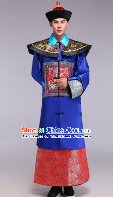 Traditional Chinese Ancient General Costume Qing Dynasty Minister Historical Clothing for Men