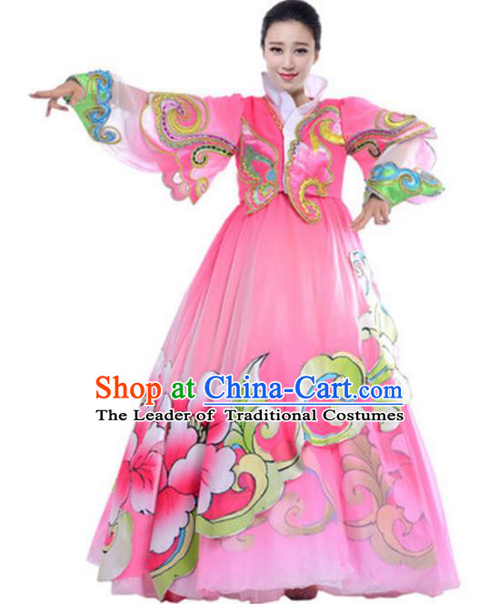 Traditional Chinese Koreans Nationality Pink Dress, China Korean Ethnic Dance Costume for Women