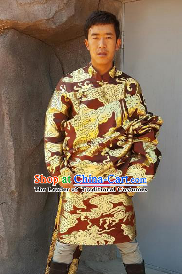 Chinese Traditional Zang Nationality Wedding Costume, China Tibetan Ethnic Embroidered Dragon Brown Tibetan Robe for Men