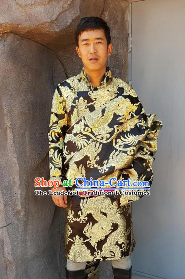 Chinese Traditional Zang Nationality Wedding Costume, China Tibetan Ethnic Embroidered Dragon Black Tibetan Robe for Men