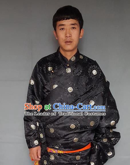 Chinese Traditional Zang Nationality Costume Black Tibetan Robe, China Tibetan Ethnic Embroidered Clothing for Men