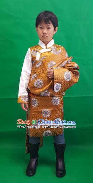Chinese Traditional Zang Nationality Children Costume, China Tibetan Ethnic Clothing Yellow Tibetan Robe for Kids
