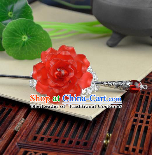 Chinese Traditional Ancient Hair Accessories Hanfu Hairpins Red Peony Hairdo Crown Headwear for Women
