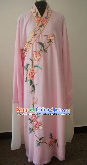 Chinese Traditional Beijing Opera Embroidered Peony Costumes China Peking Opera Niche Pink Silk Robe for Adults