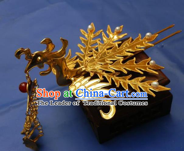 Chinese Traditional Miao Nationality Golden Phoenix Step Shake Hair Accessories Tassel Hairpins Headwear for Women