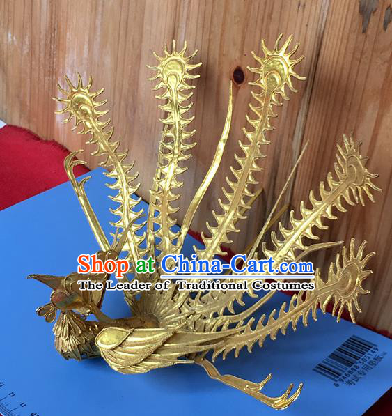 Chinese Traditional Ancient Queen Palace Golden Phoenix Coronet Hairpins Hair Accessories for Women