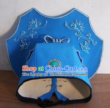 Chinese Traditional Beijing Opera Niche Scholar Blue Silk Hats for Men
