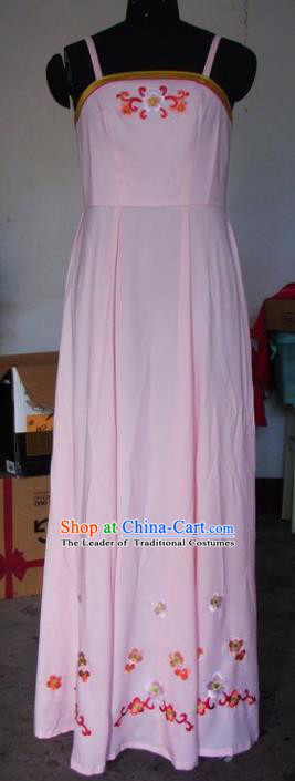 Chinese Traditional Beijing Opera Maidservants Embroidered Costumes China Peking Opera Young Lady Pink Dress for Adults