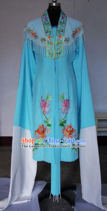 Chinese Traditional Beijing Opera Actress Blue Cloak China Peking Opera Embroidered Chrysanthemum Costumes for Adults