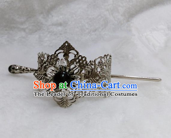 Chinese Traditional Ancient Prince Hair Accessories Swordsman Hairpins Black Bead Tuinga for Men
