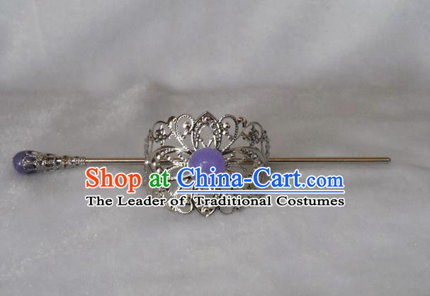 Chinese Traditional Ancient Handmade Lilac Bead Hairdo Crown Hair Accessories Swordsman Hairpins for Men