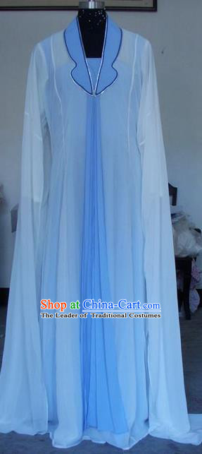 Chinese Traditional Beijing Opera Actress Blue Dress China Peking Opera Princess Costumes for Adults