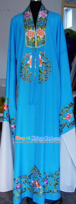Chinese Traditional Shaoxing Opera Niche Embroidered Peony Blue Robe Clothing Peking Opera Scholar Costume for Adults