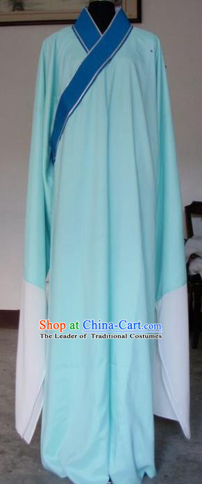Chinese Traditional Shaoxing Opera Niche Blue Robe Clothing Peking Opera Scholar Costume for Adults