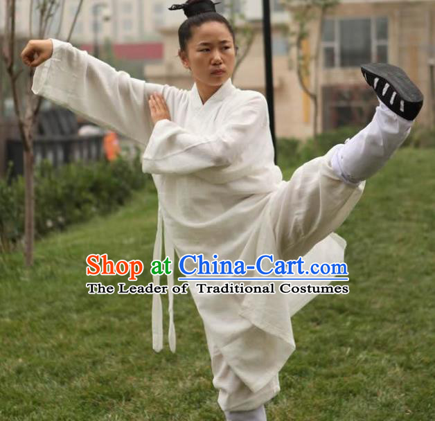 Chinese Traditional Martial Arts Taoist Nun Costumes Tai Chi Kung Fu White Priest Frock for Women