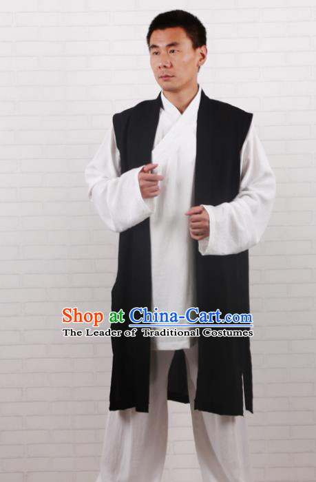 Chinese Traditional Martial Arts Costume Tai Chi Taoist Kung Fu Black Vest for Men