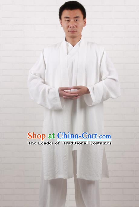 Chinese Traditional Martial Arts Costume Tai Chi Taoist Kung Fu White Vest for Men