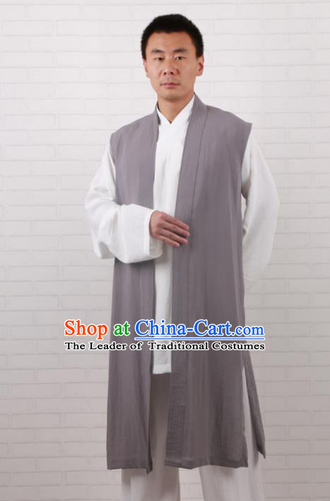 Chinese Traditional Martial Arts Costume Tai Chi Taoist Kung Fu Grey Vest for Men
